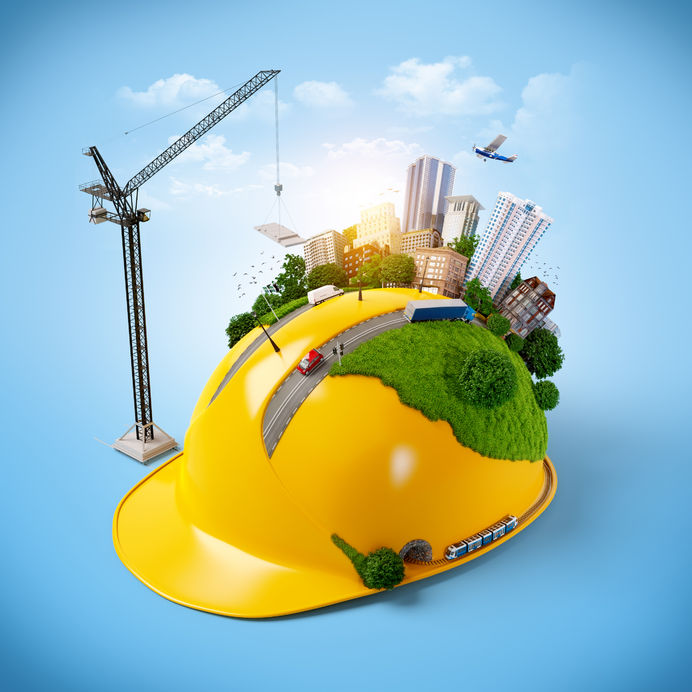 city on the construction safety helmet.